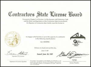 Contractor license certification